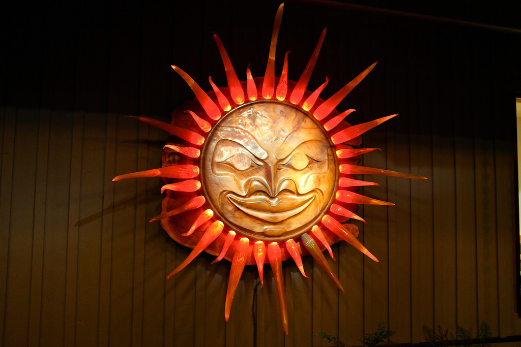 A sculpture of the sun by Sol Maya at the Wick entrance.