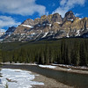 Castle Mountain (9800 ft) sits about half way between Lake Louise and Banff on the Bow Valley Parkway.  Nearby is the site of a notorious internment camp where unnaturalized Ukrainian immigrants to Canada were confined during the First World War