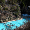 The hot springs complex contains two large pools, one with hot water for soaking around 104°F....