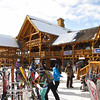 The lodge was built from logs on the property.  It is one of the most photographed ski lodges in the world.