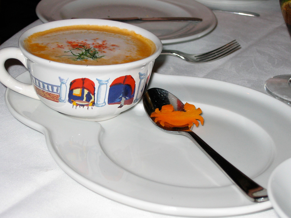 Here's a phenomenal crab bisque along with a housemade crab cracker...