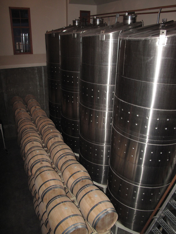 Fermentation tanks and aging barrels at Tinhorn Creek.