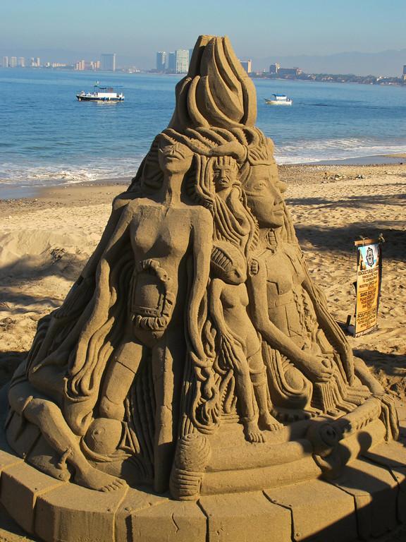 Sand sculptures change very often along the Puerto Vallarta boardwalk.