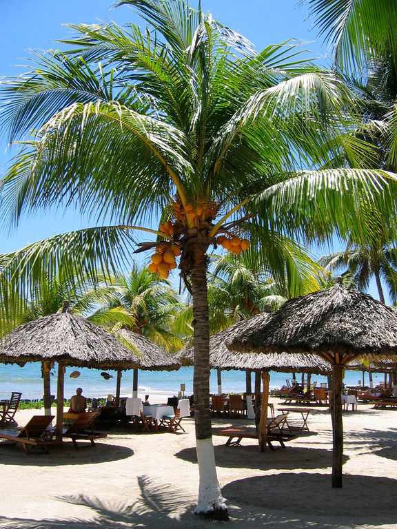 During the hot summer months, it's a good idea to find a seat under a palapa in the shade.  Temperatures here can easily hit 105 to 110 during the hot summer months.