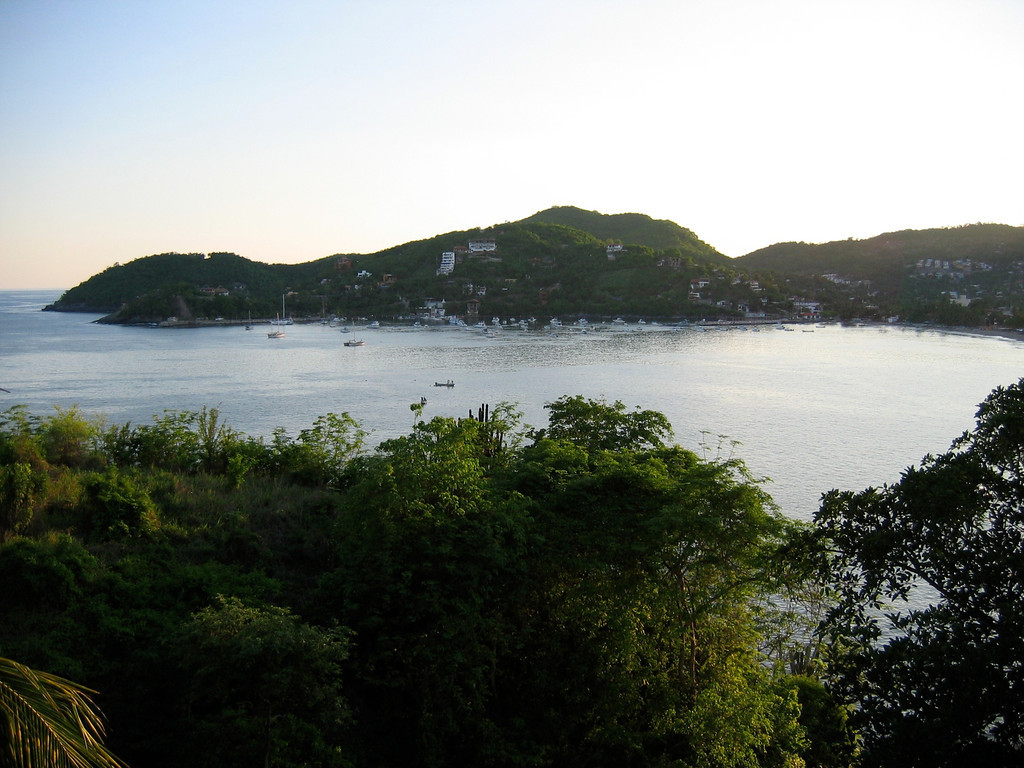 A view of the bay in Zihuatanejo from above the hotel.