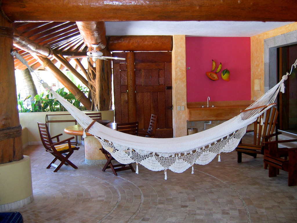 On the patio, you have a hammock as well as a small dipping pool with direct access to the beach.