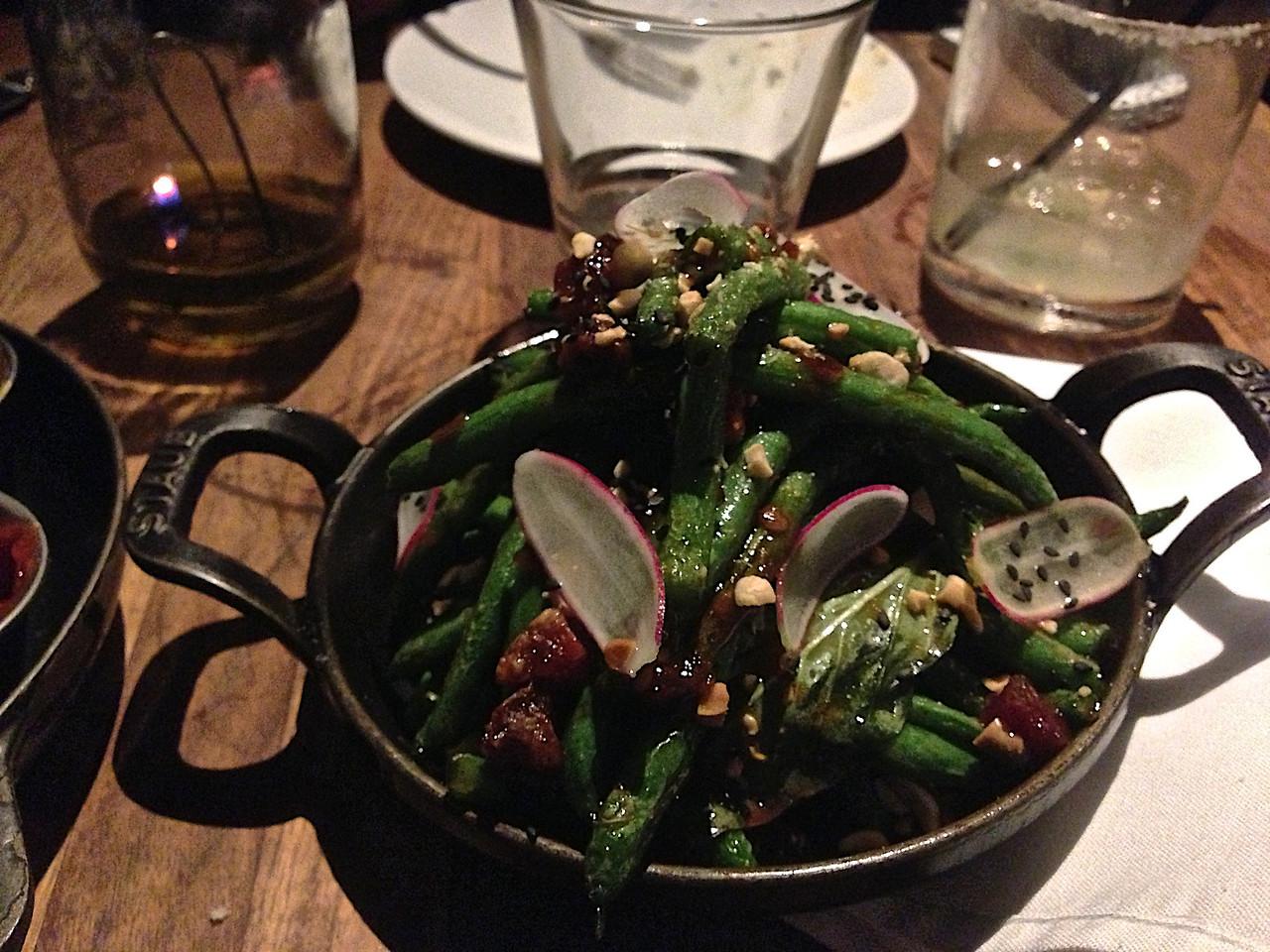 Blistered blue lake green beans.