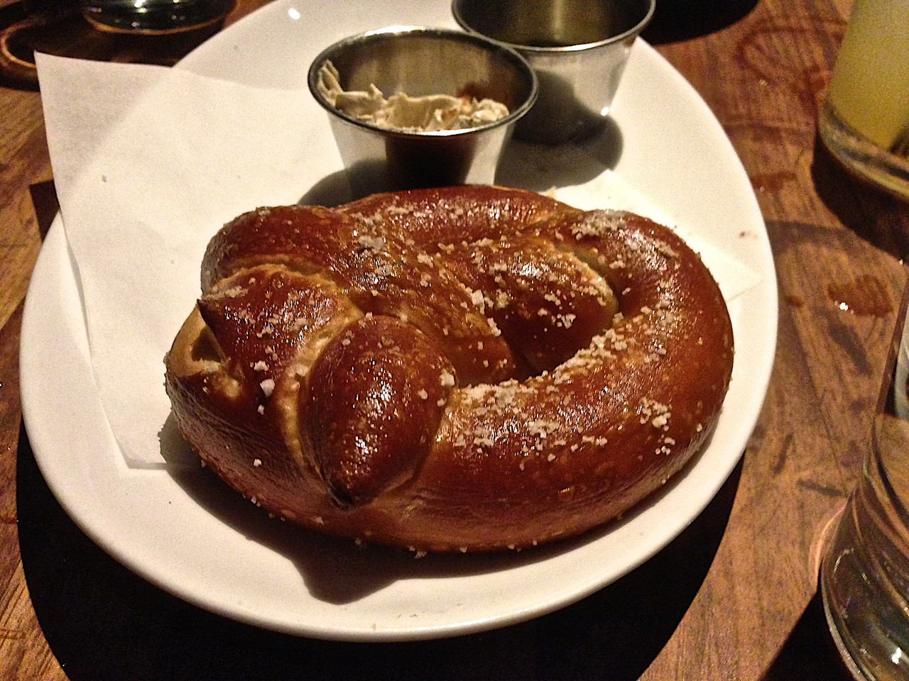 Fleur de Sel pretzel with horseradish mustart