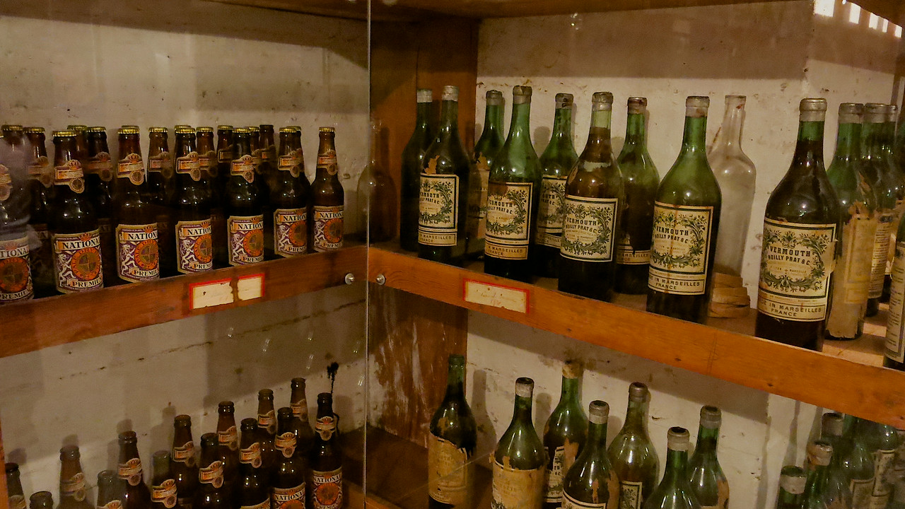 Original empty bottles of alcohol and wine served during the heyday of Hearst Castle are still in the cellar.