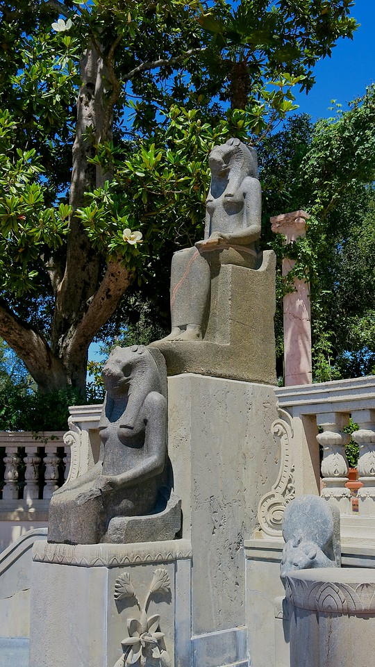 The two Sekhmet figures on the grounds are over 3000 years old and were brought here from Egypt.