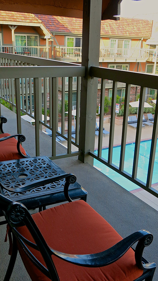 Many rooms facing the courtyard either have decks or small patios on the first floor.