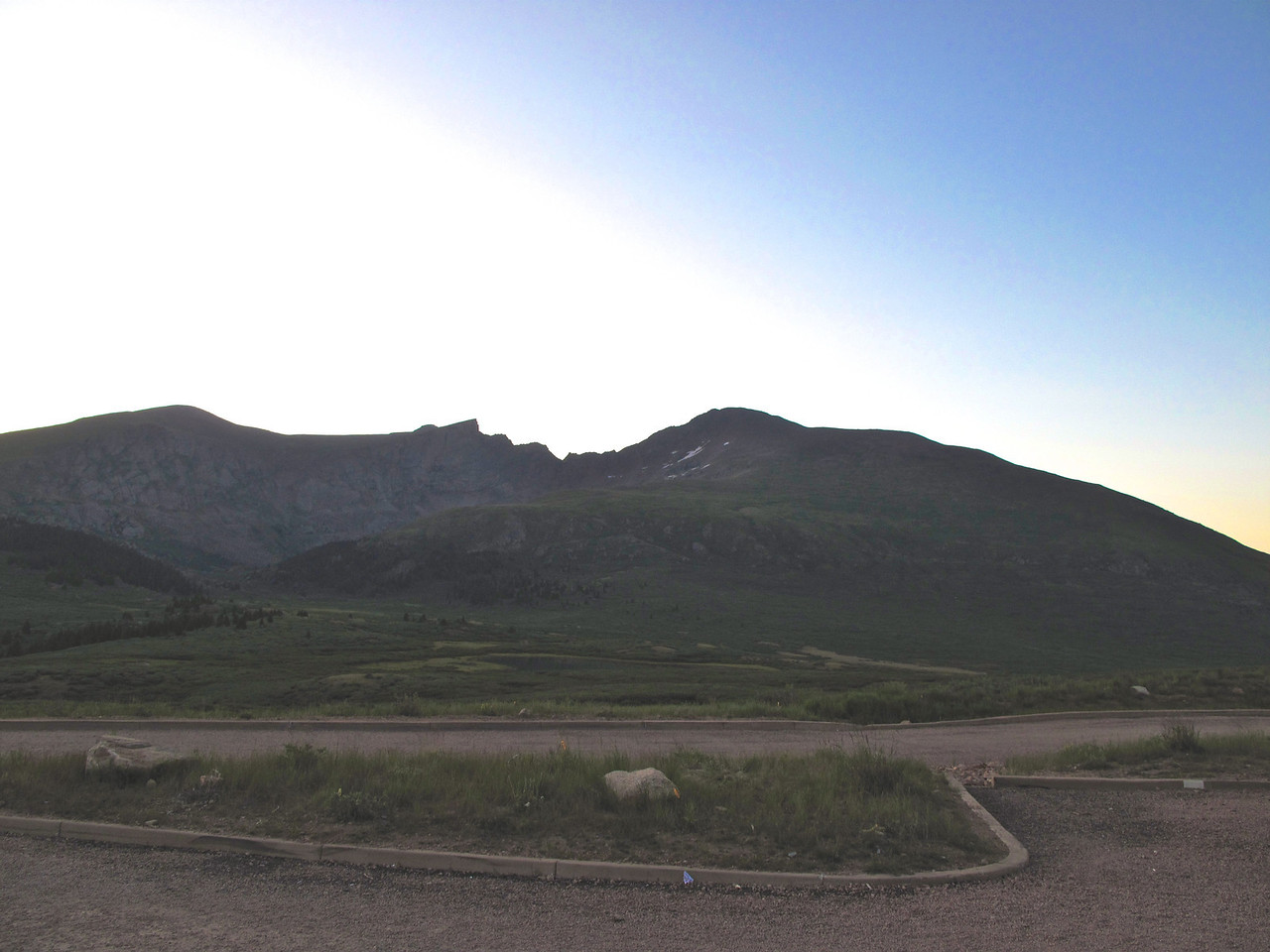 Starting our hike to Mt Bierstadt at 6AM.  Our destination is the peak on the RIGHT.  On the left is Mount Evans.  It's 37 degrees with a light breeze as we start.