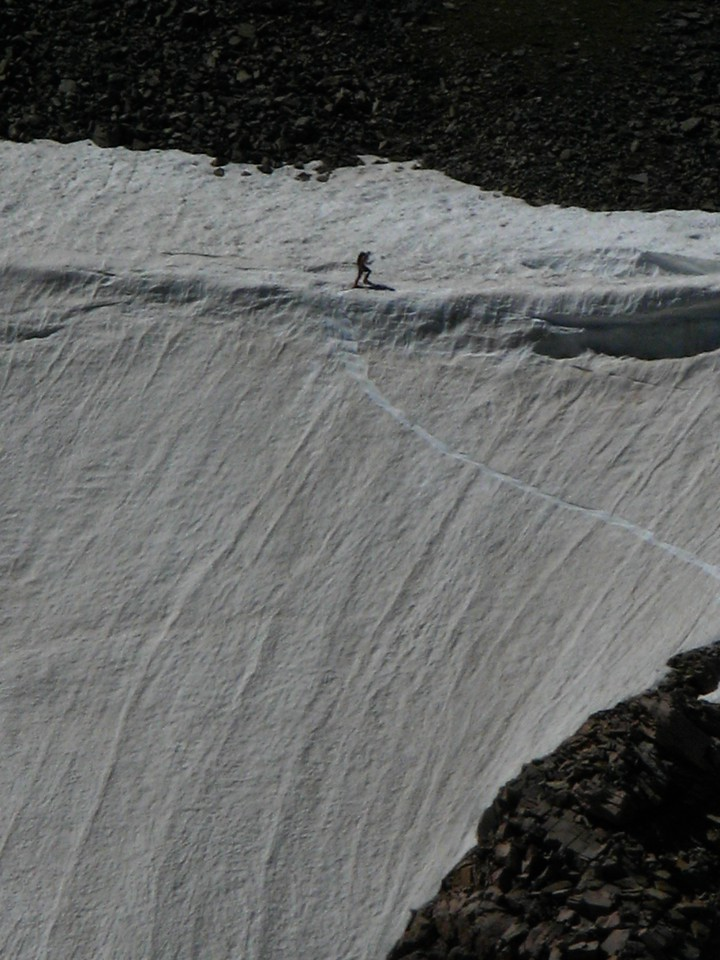Many brave souls try to ski down Tyndall Glacier in the summer.