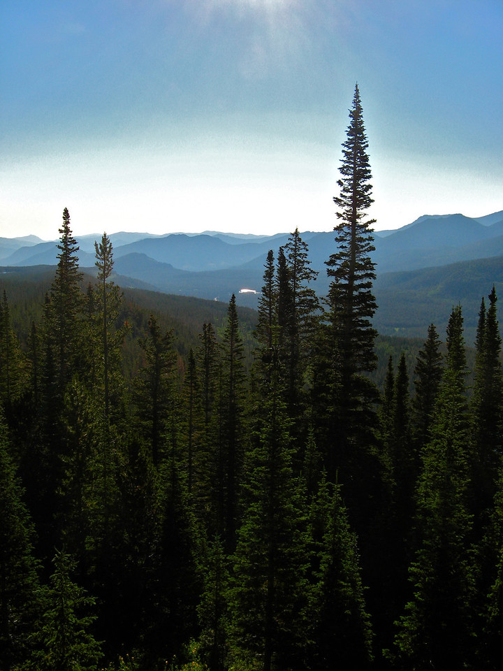 The Flattop Mountain trail in Rocky Mountain National Park in Colorado starts near Bear Lake.