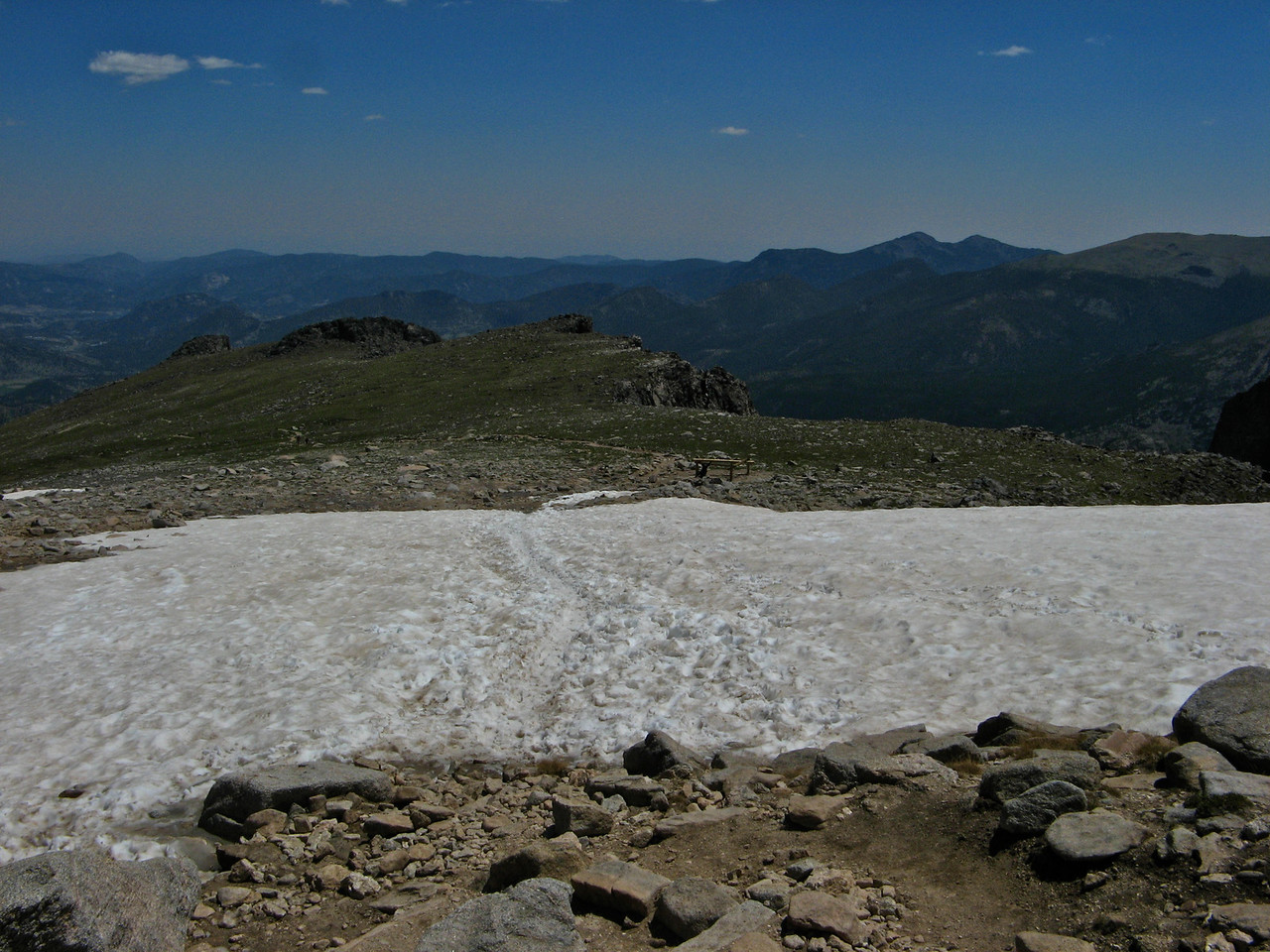 Snowfields are present at the top of Flattop year round.