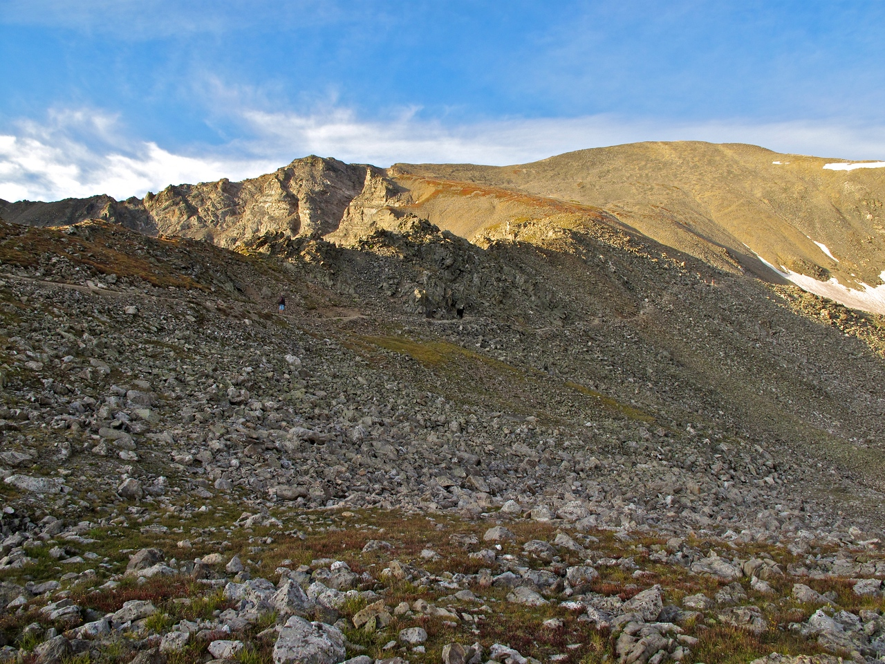 """Local Indians called Grays and Torreys Peaks """"The Ant Hills,"""" and early miners referred to them as """"Twin Peaks."""" Torreys was sometimes called """"Irwins Peak,"""" after one of the first prospectors to explore the area, Richard Irwin, who built the first horse trail to the top of Grays Peak."""