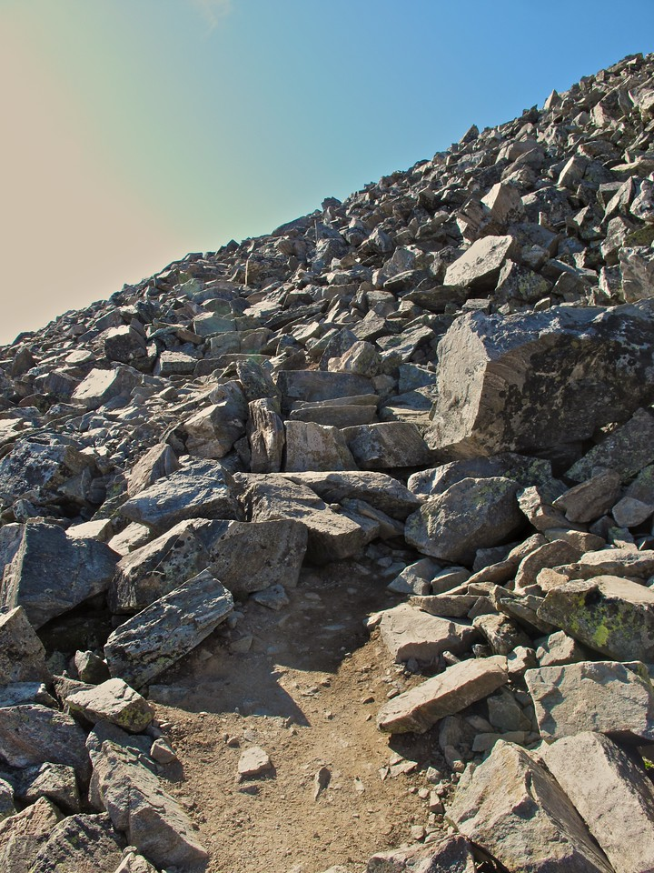 Here's the trail down from Gray's Peak towards the saddle.  Trail is a very loose term.  Rocky outcropping may be a better term.