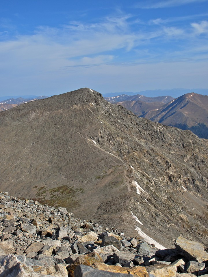 Now that we've summited Grays it's time to head over to Torrey's peak.  You can see the trail zigzaging towards the top.  This is a steep 550 feet elevational climb in about 1/4 mile.