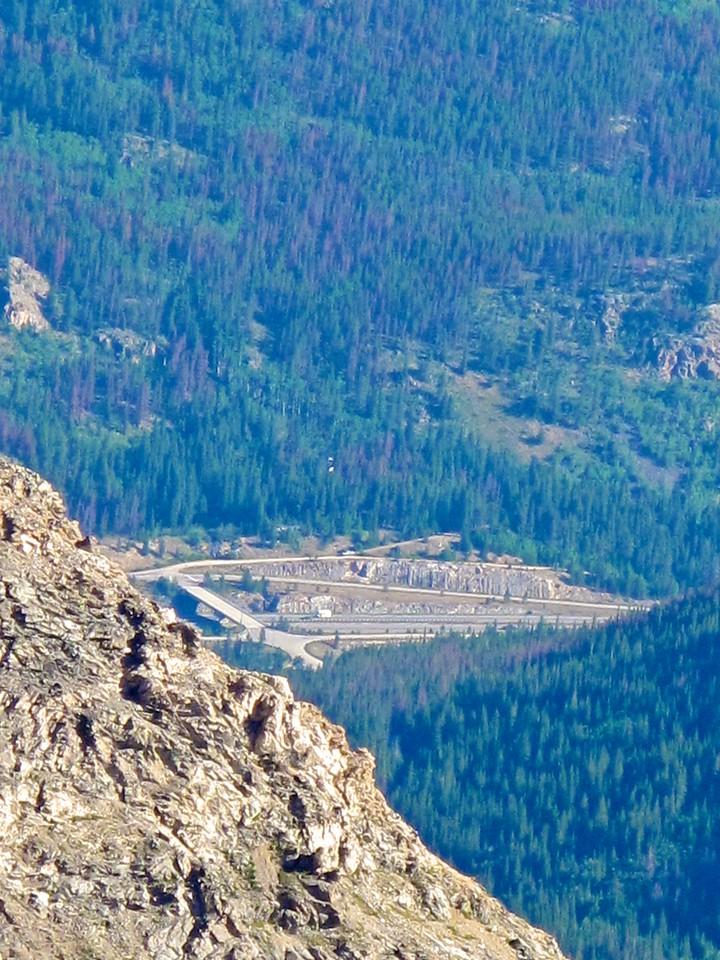 Here you can see the Bakerville exit on I70 in a zoomed in view from the top of Grays'.  This is one exit below the Eisenhower Tunnel.