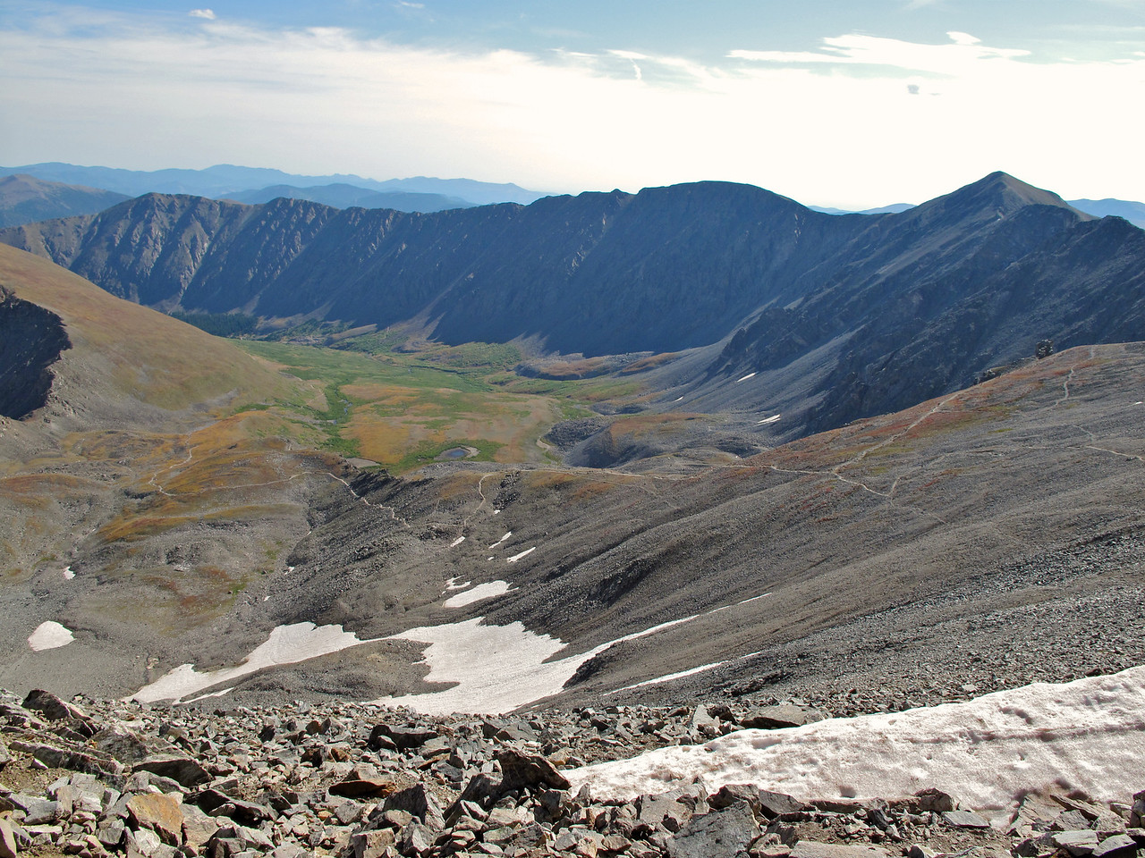 """In the middle of the """"saddle"""" we take a look back at the trail up Grays."""