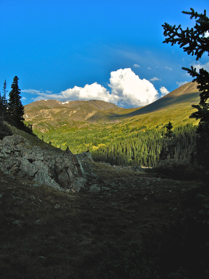 You begin at around 10,200 feet and end at 11,200 feet.  The 1000 ft elevation gain occurs over about 1.5 miles, so makes for a perfect beginner hike before you try a 14er.