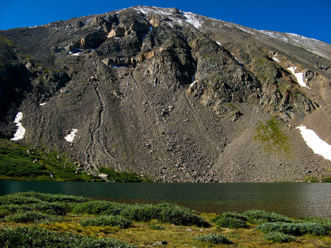 Silver Dollar Lake was formed from glacial deposits many years ago.