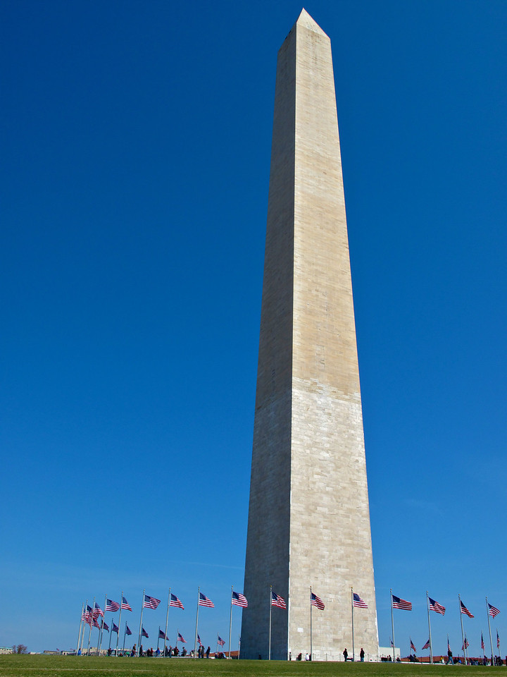 Total height of monument:[n 1] 555 ft 5 1⁄8 in (169.294 m)<br /> <br /> Height from lobby to floor of observation level: 500 feet (152 m)<br /> <br /> Width at base of monument: 55 ft 1 1⁄2 in (16.802 m)<br /> Width at top of shaft: 34 ft 5 5⁄8 in (10.506 m)<br /> <br /> Thickness of monument walls at base: 15 feet (4.6 m)<br /> Thickness of monument walls at top of shaft: 18 inches (46 cm)<br /> <br /> Thickness of monument walls in pyramidion: 7 inches (18 cm)<br /> <br /> Total weight of monument (including foundation): 81,120 long tons (90,854 short tons; 82,422 tonnes)<br /> Total number of blocks in monument: 36,491<br /> Includes all marble, granite and gneiss blocks, whether externally or internally visible or hidden from view within the wall or original foundation.<br /> <br /> Sway of monument in 30-mile-per-hour (48 km/h) wind: 0.125 inches (3.2 mm)