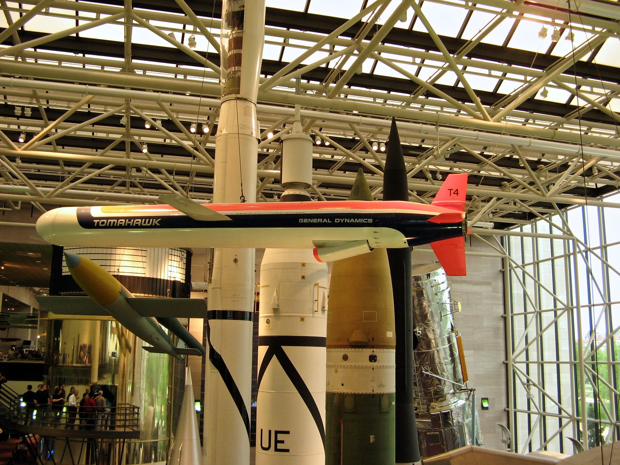 Tomahawk Missle in the National Air and Space Museum (NASM) of the Smithsonian Institution.  It holds the largest collection of historic aircraft and spacecraft in the world in 161,145 square feet (14,970.9 m2) of exhibition floor space. It was established in 1976.