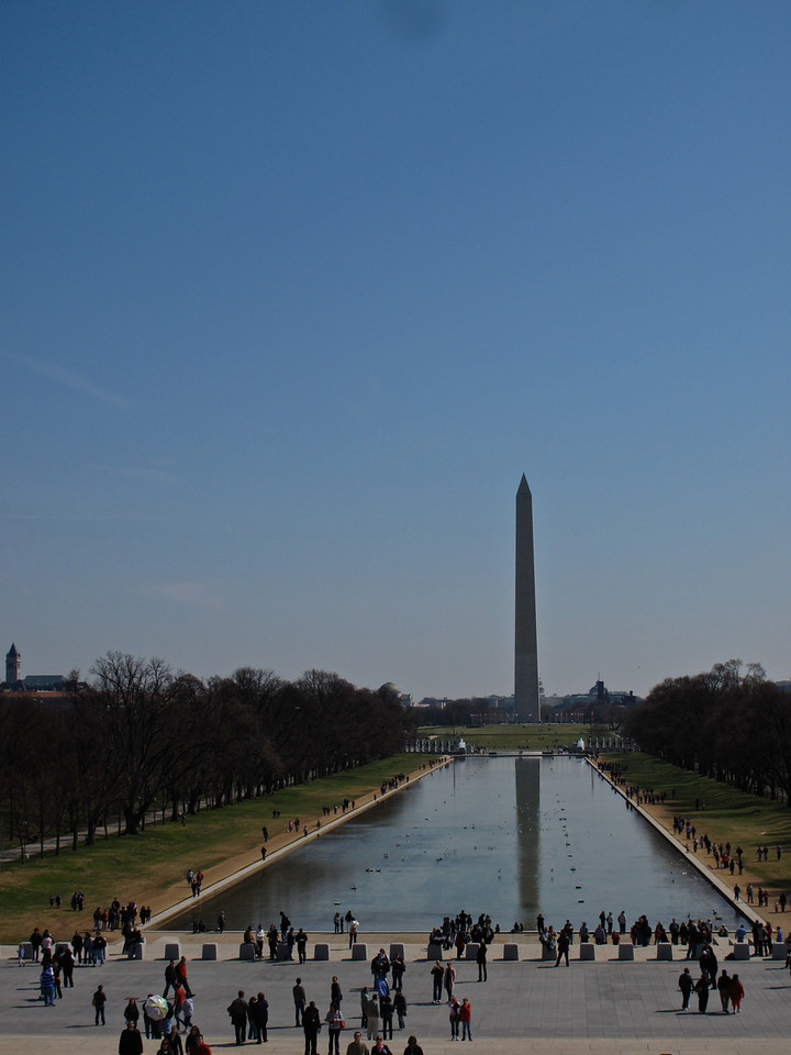 The Washington Monument and reflecting pool as seen from the Lincoln Memorial steps.