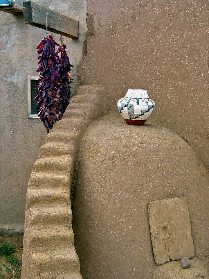 Mica-flecked pottery and silver jewelry are made by local artisans and sold at many of the individually owned curio shops within the Pueblo. The Taos Indians, being great hunters, are also famous for their work with animal skins -- moccasins, boots and drums. There are a growing number of contemporary Pueblo fine artists, combining Indian tradition with modern artistic expression