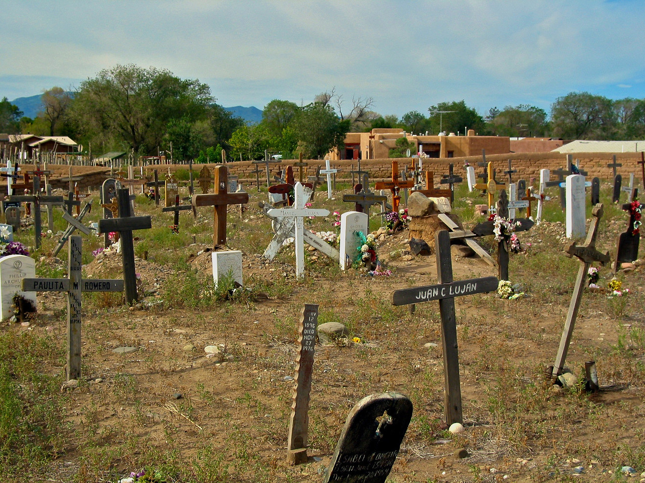 The current cemetery of Taos Pueblo is located on the ruins of the original St. Jerome Church, which was built in 1619 but destroyed during the Spanish Revolt of 1680