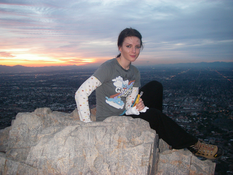 Mia on the top of Squaw / Piestewa Peak 2,608 ft /795 m.<br /> Total elevation gain 1,190 ft / 363 m.<br /> <br /> She was born in Sarajevo. <br /> Mia graduated from Arizona State University – Barrett Honors College in Business and Psychology.<br /> She loves music, concerts, and movies. <br /> Mia enjoys snowboarding and ice skating.