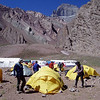 At the Confluencia Camp.<br /> <br /> We spent two nights at the intermediate camp of Confluencia for acclimatization purposes.  We performed a day-long hike to the impressive South Face Base Camp (Plaza Francia).