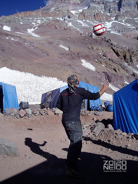 Soccer match at the Base Camp.