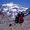 Our group (left to right: Naim, Jasmin, Zijah, Fikret) with the Aconcagua South Face behind us.