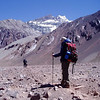 Jasmin approaching Plaza de Mulas – Base Camp.