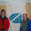 Fikret and I left our flag in the Refugio Plaza de Mulas(4,370m / 14,000ft).