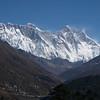 Nuptse (25,791ft/7.861m), Mt Everest (29,035ft/8.850m), Lotse (27,940ft/8.516m) from Tengboche monastery (12,664ft/3.860m)