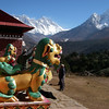 Tengboche monastery (12,664ft/3.860m).<br /> Behind from the left: Nuptse (25,791ft/7.861m), Mt Everest (29,035ft/8.850m), Lotse (27,940ft/8.516m), and Ama Dablam (22,493ft/6.856m)
