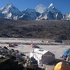 Ama Dablam Base Camp (BC) (15,256ft/4.650m) – view towards south. <br /> From the left: P6077, P6080, Kangtega Main (22,241ft/6.779m), Kangtega North (21,932ft/6.685m), P5243.
