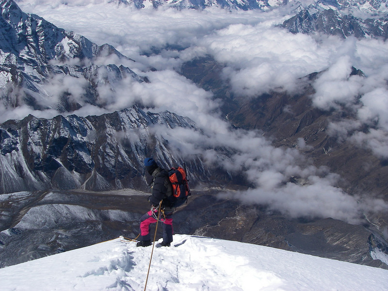 Climbing Sherpa Kami on the way down from the top of Ama Dablam (22,493ft/6.856m)