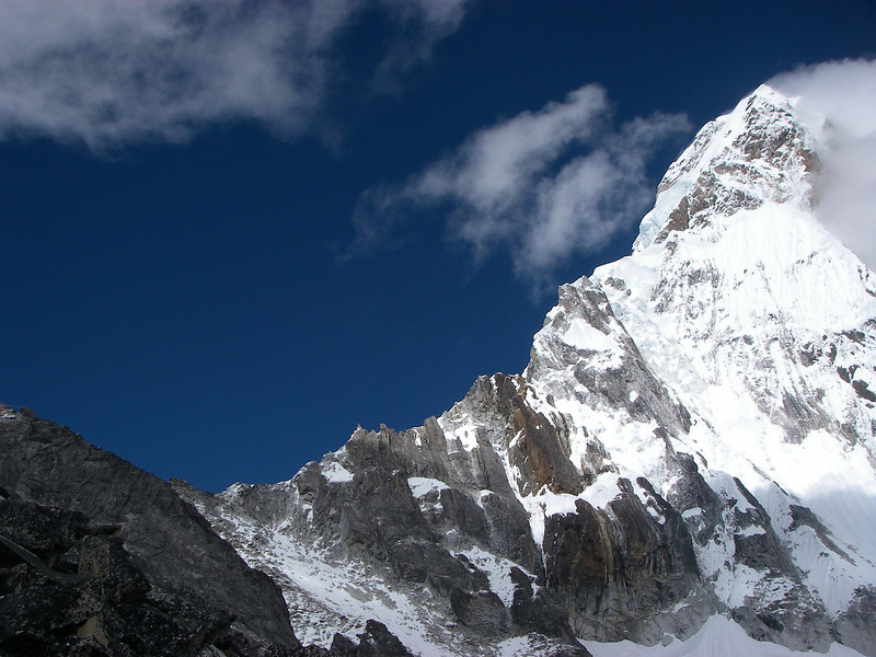 Ama Dablam (22,493ft/6.856m) south-west ridge from ABC (16,732ft/5.100m)