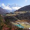 Dole village (4.200 m) in Gokyo Valley.<br /> Kangtega (6.685 m) and Thamserku (6.608 m) are visible behind.