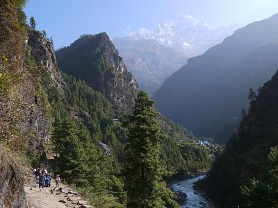 Beautiful Solu Khumbu Valley. Thamserku (6.608 m) is visible behind.