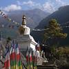 Buddhist stupa.<br /> Thamserku (6.608 m) is visible behind.