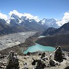 Gokyo village (4.800 m).<br /> There are six glacier lakes in Gokyo Valley.<br /> Gokyo village is on the third one.<br /> All lakes are located on western moraine of Ngozumba glacier, the largest in Himalaya.