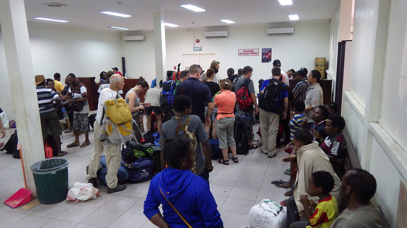 Timika airport – checking our baggage for Sugapa.