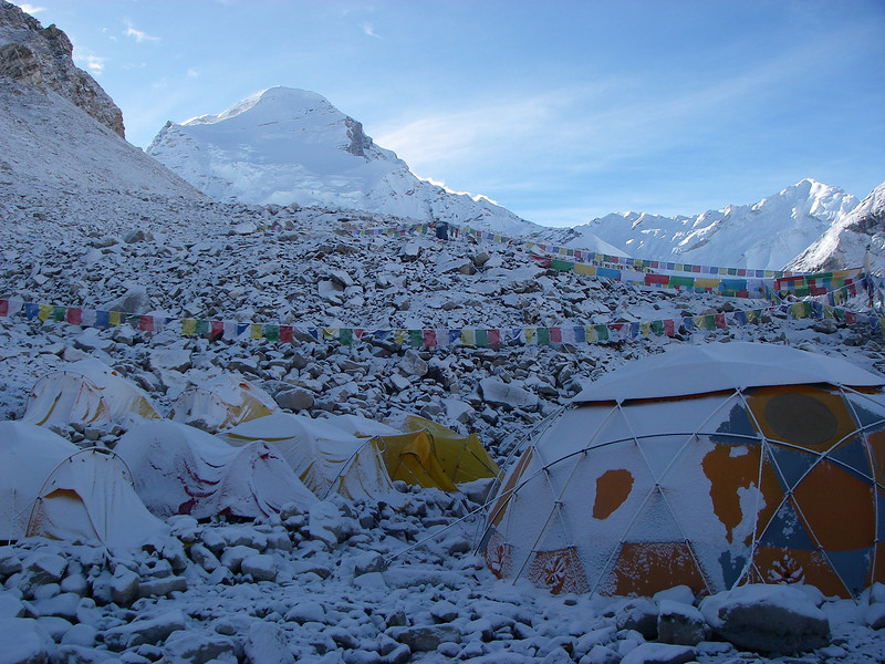 """ABC (18,456ft/5.625m), our """"home"""" for the next 30 days – Cho Oyu (26,906ft/8.201m) behind"""