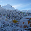 "ABC (18,456ft/5.625m), our ""home"" for the next 30 days – Cho Oyu (26,906ft/8.201m) behind"