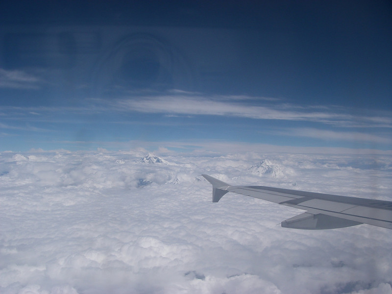 Flight Kathmandu – Lhasa over the Himalayan Range - from the left:<br /> Cho Oyu (26,906ft/8.201m), Everest (29,035ft/8.850m), Makalu (27,766ft/8.463m)